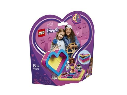 41357 LEGO® Friends Olivias Herzbox:   Nimm Olivia in ihrer eigenen Herzbox überall mit hin. Olivia denkt immer übe