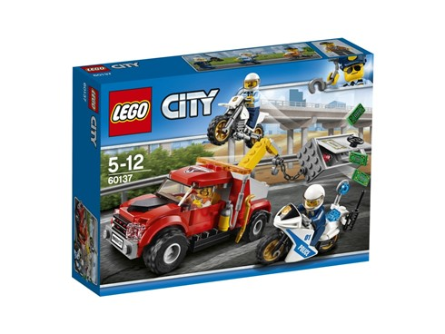 60137 LEGO® City Abschleppwagen auf Abwegen*:   Lass die beiden Motorradpolizisten einen Plan schmieden, wie sie den Ganoven