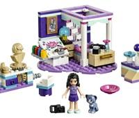 """41342 LEGO® Friends Emmas Zimmer*:   Das LEGO® Friends Set """"Emmas Zimmer"""" (41342) steht auf einer violetten herzf"""