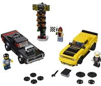 75893 LEGO® Speed Champions 2018 Dodge Challenger SRT Demon und 1970 Dodge Charger R/T:   Mache dich bereit für das ultimative Dragster-Rennen zwischen einem neuen Au
