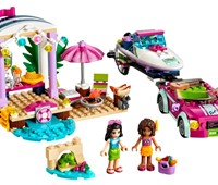 41316 LEGO® Friends Andreas Rennboot-Transporter*:   Fahre im sportlichen Strandauto die Küste entlang – mit deinem supercoolen R