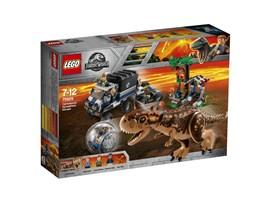 75929 LEGO® Jurassic World™ Carnotaurus - Flucht in der Gyrosphere:   Weiche den herabregnenden Lavabrocken aus und flüchte vor dem gefährlichen D
