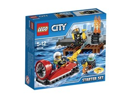 60106 LEGO® City Feuerwehr-Starter-Set:   Eile mit dem Feuerwehr-Luftkissenfahrzeug zum Pier, um das Feuer zu löschen!