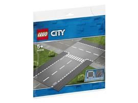 60236 LEGO® City Gerade und T-Kreuzung:   Erweitere dein LEGO®City Straßennetz mit Bauplatten des Sets Gerade und T-K