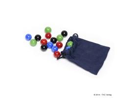 Murmelset komplett mit Säckchen für TAC-Premium u.a. (16mm):   Beinhaltet 16 Glasmurmeln mit 16mm Durchmesser -jeweils 4 Stück handsortier