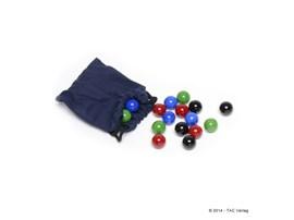"""Murmelset komplett mit Säckchen für """"Das kleine TAC"""" (14mm):   Beinhaltet 16 Glasmurmeln mit 14mm Durchmesser -jeweils 4 Stück handsortier"""