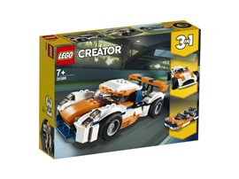 31089 LEGO® Creator Rennwagen:   Drehe deine Runden auf der Rennstrecke – mit dem Rennwagen in knalligem Oran
