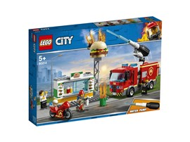 60214 LEGO® City Feuerwehreinsatz im Burger-Restaurant:   Rette die Hamburger! Das Schild des LEGO®City Burger-Restaurants steht in F